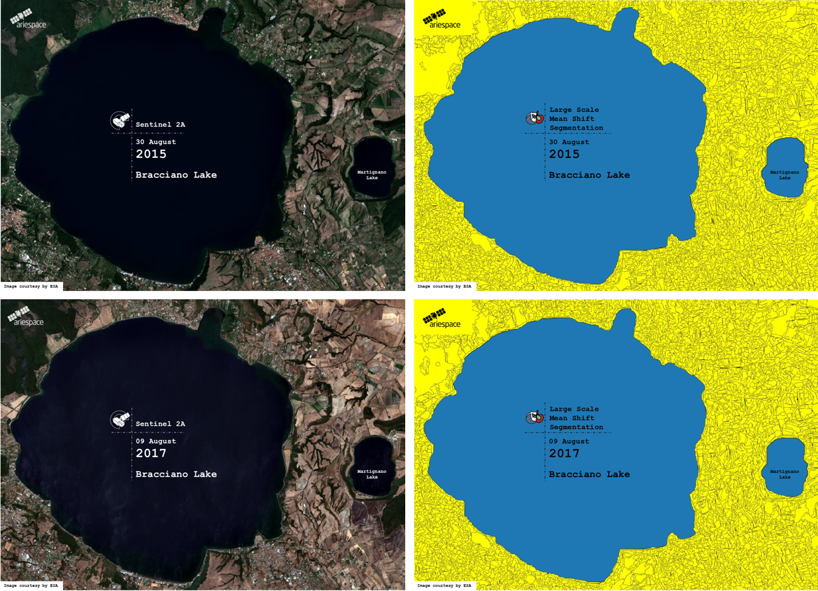 bracciano lake remote sensing ariespace lazio italia water level segmentation_COLLAGE
