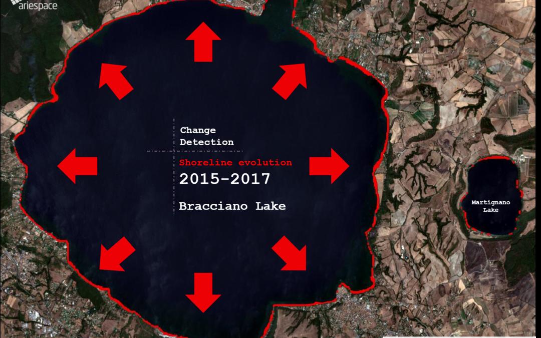 Siccità: La riduzione del livello dell'acqua del Lago di Bracciano mappata con immagini Sentinel-2